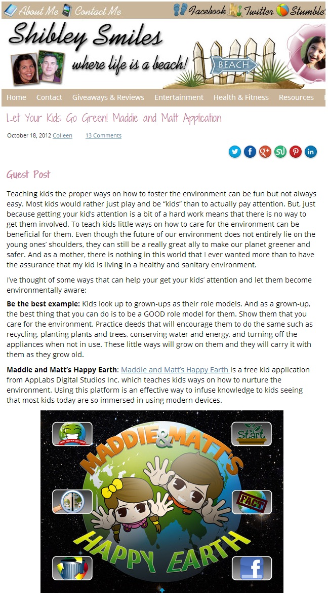 Shibley Smiles Happy Earth App Review