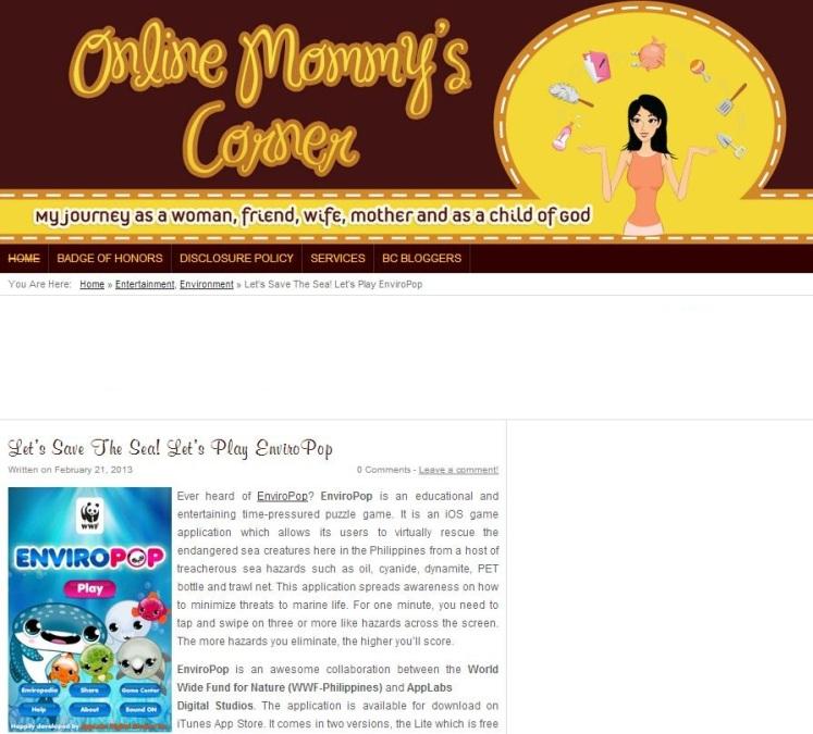 EnviroPop on Online Mommy's Corner